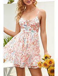 cheap -Women's Strap Dress Short Mini Dress Red Sleeveless Floral Print Summer V Neck Casual Holiday 2021 XS S M L