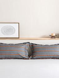 cheap -2 Pack 50*75cm Pillowcases/Pillow Shams Print Soft Microfiber Striped Gray Orange