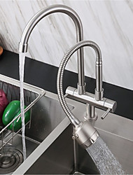 cheap -304 Stainless Steel Faucet Single Cold Double Pipe Double Handle Universal Rotary Kitchen Sink Double Outlet Faucet