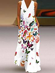 cheap -Women's Swing Dress Maxi long Dress Blue Yellow Blushing Pink Green White Black Sleeveless Sexy 2021 S M L XL XXL
