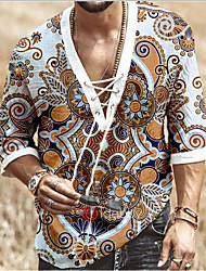 cheap -Men's Shirt Floral Drawstring Half Sleeve Casual Tops Casual Fashion Breathable Comfortable Standing Collar Blue Orange White