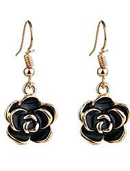 cheap -rose dangle earrings drop earrings fashion simplicity rose flower dripping oil alloy earrings fashion jewelry