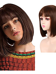 cheap -12 Inch Brown Short Bob Wig Straight with Air Bangs Middle Length Bob Hair Piece Natural Looking Synthetic Full Wig for Women Girl Daily Wear Party Cosplay Halloween