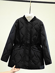 cheap -Women's Coat Daily Wear Fall Winter Regular Coat Regular Fit Casual Jacket Solid Color Zipper Black Beige / Cotton