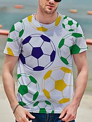 cheap -Men's Tee T shirt Shirt 3D Print Graphic Prints Football Soccer Football player Print Short Sleeve Daily Tops Casual Designer Big and Tall White / Summer