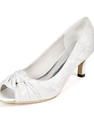 cheap -Women's Wedding Shoes Kitten Heel Peep Toe Wedding Pumps Wedding Lace Floral Light Purple Ivory White