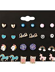 cheap -pearl earrings set women fashion rainbow unicorn earrings set alloy drip jewelry