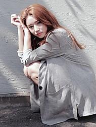cheap -Women's Coat Office / Career Spring Summer Regular Coat Regular Fit Casual / Daily Jacket Solid Color Pocket Light Grey Beige
