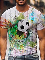 cheap -Men's Tee T shirt 3D Print Graphic Prints Football Soccer Football player Print Short Sleeve Daily Tops Casual Designer Big and Tall White / Summer