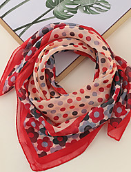 cheap -Women's Square Scarf Party Red Scarf Floral Chiffon Fall Spring  Color Block