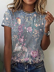 cheap -Women's Floral Theme Abstract Painting T shirt Floral Graphic Print Round Neck Basic Tops Blue Blushing Pink Black