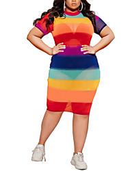cheap -Women's Plus Size Dress Sheath Dress Knee Length Dress Short Sleeve Rainbow Sexy Summer Blushing Pink XL XXL 3XL 4XL