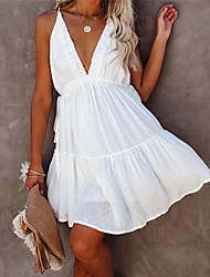 cheap -Women's Strap Dress Short Mini Dress White Sleeveless Solid Color Summer V Neck Casual Holiday 2021 S M L
