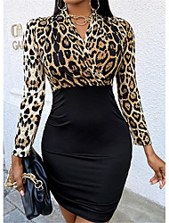 cheap -2021 foreign trade spring and summer new amazon european and american women's v-neck long-sleeved leopard stitching slim bag hip skirt female