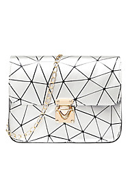 cheap -Women's Bags PU Leather Mobile Phone Bag Chain Fashion Holiday Date Plaid Chain Bag Blushing Pink Silver White Black