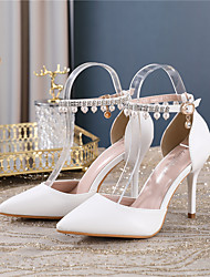 cheap -Women's Wedding Shoes Stiletto Heel Pointed Toe Wedding Pumps PU Sparkling Glitter Buckle Tassel Solid Colored Color Block White Black