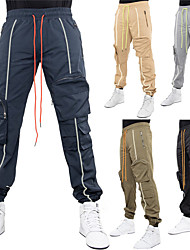 cheap -Men's Stylish Sporty Casual / Sporty Streetwear Breathable Soft Jogger Pants Chinos Tactical Cargo Trousers Daily Sports Pants Solid Color Full Length Drawstring Elastic Waist Reflective Strip