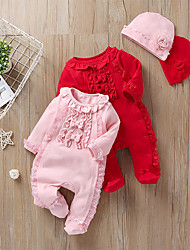cheap -2 Pieces Baby Girls' Romper Active Cotton Blushing Pink Red Solid Colored Lace Long Sleeve / Spring