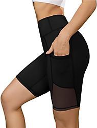 cheap -Women's High Waist Yoga Shorts Biker Shorts Side Pockets Shorts Bottoms Tummy Control Butt Lift Fashion Amethyst Red Blue Yoga Fitness Gym Workout Summer Sports Activewear Stretchy Slim