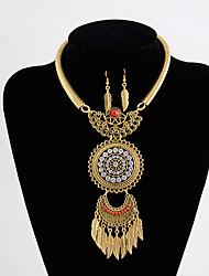 cheap -jewelry set retro alloy personality leaf tassel diamond necklace earring set