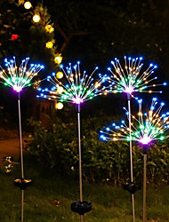 cheap -Outdoor Solar LED Firework String Lights 120 LED IP65 Waterproof For Garden Pathway Patio Yard Fairy Light Lamp Decoration Colorful Lighting 1X 2X