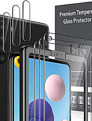 cheap -6 pack lk 3 pack screen protector + 3 pack camera lens protector compatible with samsung galaxy a21 tempered glass, easy frame installation, hd ultra-thin
