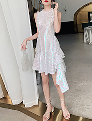 cheap -A-Line Celebrity Style Sparkle Party Wear Cocktail Party Dress Jewel Neck Sleeveless Asymmetrical Sequined with Sequin Ruffles 2021