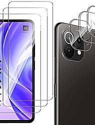 cheap -qulloo tempered glass protective film for xiaomi mi 11 lite 4g / 5g [3 pieces] + camera tempered glass [3 pieces], 9h hardness anti-scratch tempered glass film for xiaomi mi 11 lite 4g / 5g