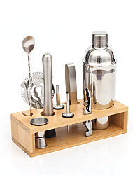 cheap -10 Piece Stainless Steel Bar Tools with Stylish Bamboo Stand Rustproof Bartender Kit Gifts Cocktail Shaker Set for Home Bars Party and Drink
