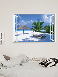 cheap -3D False Window Coconut Tree Beach Home Children's Room Background Decoration Can Be Removed Stickers Wall Stickers for bedroom living room
