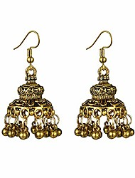 cheap -just follow fashion colorful beads tassel indian earrings for women ethnic vintage gold alloy bell dangle earrings (alloy bell dangle earrings-gold)