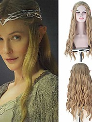 cheap -halloweencostumes royalvirgin full machine synthetic wigs the movie hobbit elf queen galadriel cosplay wigs long wavy 613 golden ash blonde hair for halloween use no ear