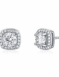 cheap -moissanite earrings 2ct d color brilliant round cut halo moissanite simulated diamond stud earrings for women 18k white gold plated silver