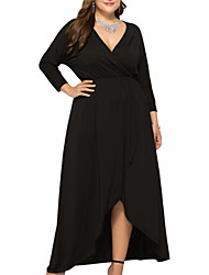 cheap -Women's Plus Size Dress Swing Dress Maxi long Dress Long Sleeve Regular Fit Going out Solid Color V Neck Party Fall Spring Summer Purple Wine Army Green XL XXL 3XL 4XL