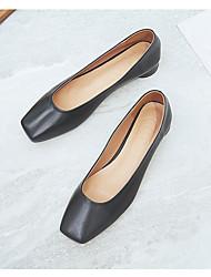 cheap -Women's Flats Flat Heel Square Toe Leather Almond Black