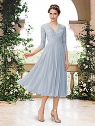 cheap -A-Line V Neck Tea Length Chiffon / Lace Bridesmaid Dress with Pleats
