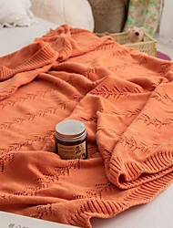 cheap -Cotton Throw Blanket All Season For Couch Chair Sofa Bed Picnic Knit Handmade Nordic Rustic Style Solid Soft Fluffy Warm Cozy Plush Autumn Winter 130*160cm Rusty Orange