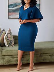 cheap -Women's Wrap Dress Knee Length Dress Navy Blue Short Sleeve Solid Color Summer Casual 2021 S M L XL XXL XXXL
