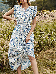 cheap -Women's A Line Dress Midi Dress Model picture contact customer service 3XL 310g White Sleeveless Pattern Summer Casual 2021 S M L XL