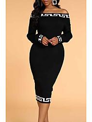 cheap -Women's Wrap Dress Knee Length Dress Black Solid Color Spring &  Fall Casual 2021 S M L XL XXL XXXL