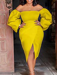 cheap -Women's Wrap Dress Midi Dress Yellow Orange White Long Sleeve Solid Color Summer Formal 2021 S M L XL XXL XXXL