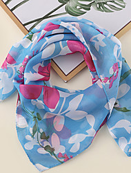 cheap -Women's Square Scarf Party Blue Scarf Floral