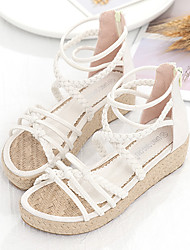 cheap -Women's Sandals Espadrilles Platform Sandals Gladiator Sandals Roman Sandals Wedge Heel Pointed Toe Wedding Flats Linen Denim Ribbon Tie Solid Colored Almond Black
