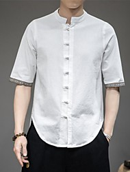 cheap -Men's Shirt Solid Colored 3/4 Length Sleeve Casual Tops Chinese Style White Dark Gray Navy Blue