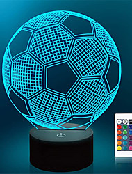 cheap -Football Decoration Light 3D Nightlight Night Light Remote Controlled Touch Sensor Color-Changing Remote Control Touch Christmas New Year's AA Batteries Powered USB 1pc