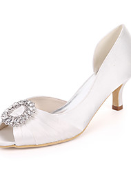 cheap -Women's Wedding Shoes Kitten Heel Peep Toe Satin Rhinestone Solid Colored White Purple Red