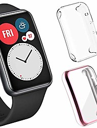 cheap -sjiangqiao 2-pack screen protector cases compatible with huawei watch fit, soft tpu plated all-around protector cover bumper frame for huawei watch fit accessories for men women (clear+pink)
