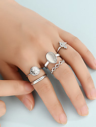 cheap -Ring Set Fashion Alloy Inlaid Crystal Joint Ring Set Carved Pattern Alloy Ring 5-Piece Set
