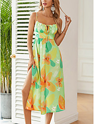 cheap -Women's Strap Dress Midi Dress Green Sleeveless Floral Backless Print Summer Boat Neck Casual Holiday 2021 XS S M L