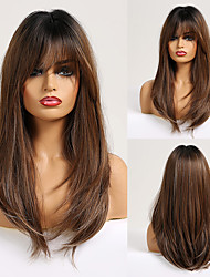 cheap -Synthetic Wig kinky Straight Natural Wave With Bangs Wig 20 inch sepia Synthetic Hair 20 inch Women's Fashionable Design Soft Natural Brown Ombre
